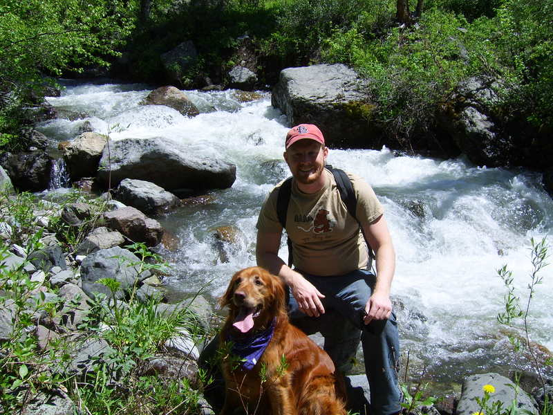 Guy and his dog hiking in Ennis, MT