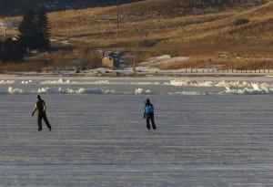 Ice skating Ennis Lake