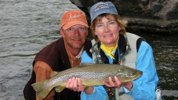 Big brown trout - caught and released - still out there!